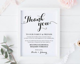 Wedding Donation Sign, Thank You Sign, Wedding Decor, Print, Reception Sign, In Lieu of Favours, Black and White, Elegant
