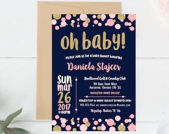 Baby Shower, Invitation, Invite, Oh Baby, New Baby, Baby Boy, Baby Girl, Party, Gold, Glitter, Navy, Pink, Blush, White, Polkadot, Unisex