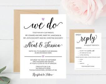 Wedding Invitation Set, We Do, RSVP, Rustic, Simple, Heart, Script, Black, White, Lavender, Elegant, Calligraphy