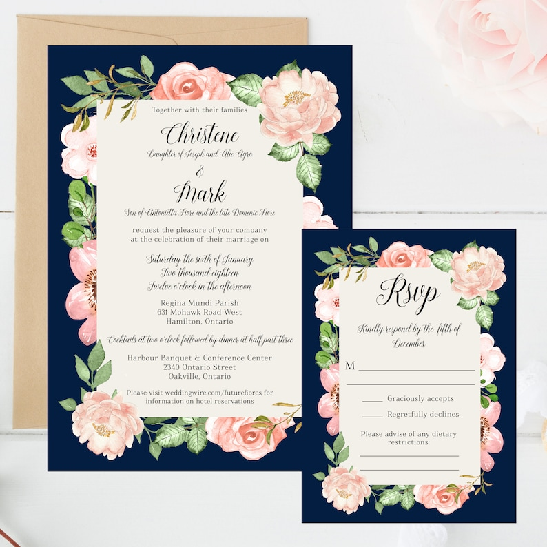 Wedding Invitation Set Floral Flowers Romantic Navy image 0
