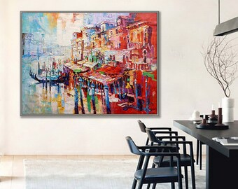 Venice Painting Abstract Style Modern Thick oil painting Itlian canvas art