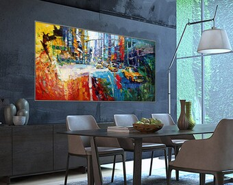 """Yellow Taxi Times Square New York NYC Art Painting 31x62""""/80x160cm Palette Knife Art Textured Oil Painting"""