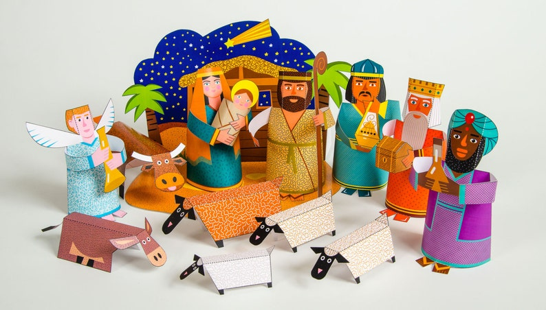 Nativity Scene | DIY Paper Craft Kit | 3D Paper Toys | Colourful Cutouts to  Assemble | Creative Activity