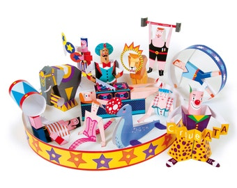 Circus | DIY Paper Craft Kit | 3D Paper Toys | Colourful Cutouts to Assemble | Creative Activity