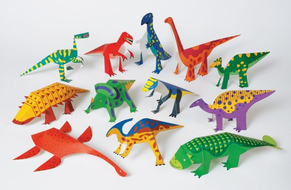 Dinosaurs Diy Paper Craft Kit 3d Paper Toys Colourful Etsy