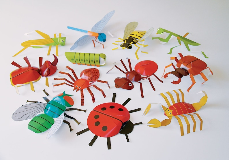 Insects | DIY Paper Craft Kit | 3D Paper Toys | Colourful Cutouts to  Assemble | Creative Activity