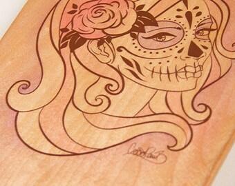 Alt Roots Sugar Skull Kicktail Skateboard