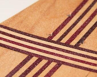 Purple Striped Kicktial Pin Skateboard Deck