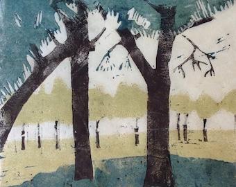 Original art. Linocut Print The Park
