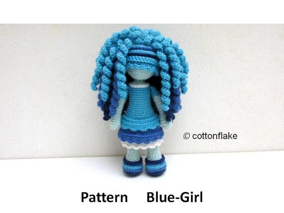 Blau Mädchen Muster Lockiges Haar Amigurumi Puppe Etsy