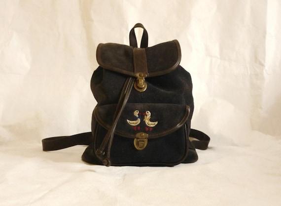 70s Vintage Backpack / marin-blue suede Backpack /
