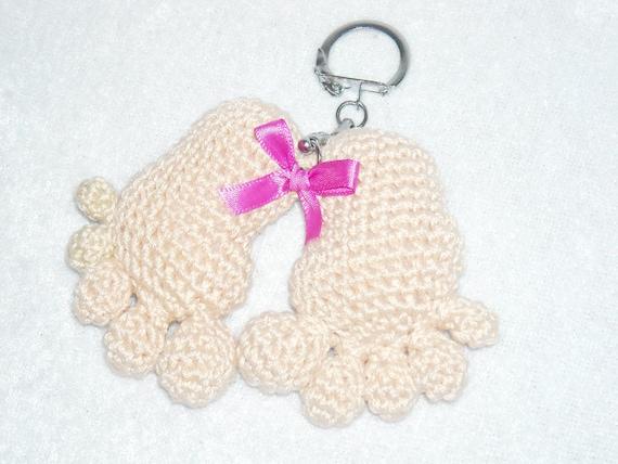 Häkeln Baby Füße Schlüsselanhänger Beige Amigurumi Babyfüße Etsy
