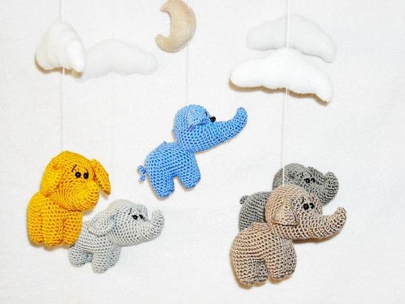 Crochet elephant baby mobile wooden crib baby mobile neutral   Etsy   428x570