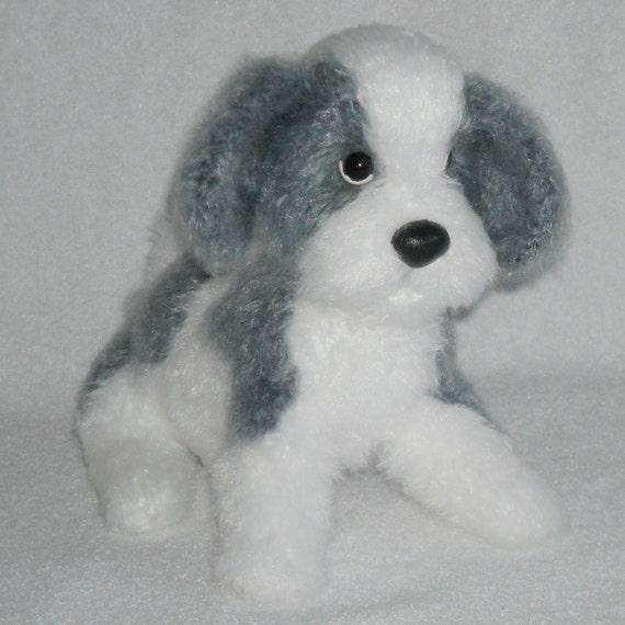 SALE Crochet Dog White grey white puppy stuffed Amigurumi puppy stuffed  animal puppy dog toy kawaii puppy toy crochet baby shower gift