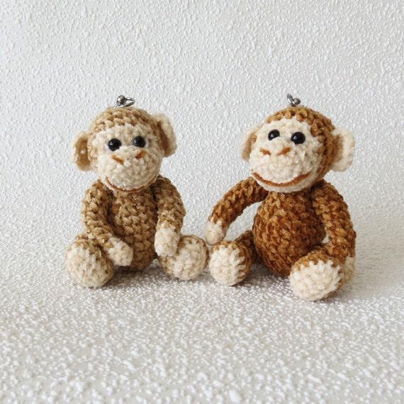 Kleine Affen Amigurumi Affe Häkeln Schlüsselanhänger Charme Etsy