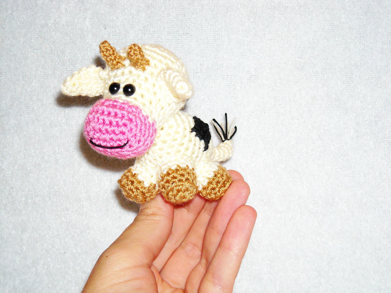 Amigurumi Cow Crochet Stuffed Animal Calf Knitted Kawaii Toy Etsy