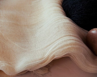 """Organic Cotton Gauze Fabric - Cheesecloth Fabric - Sheer Scrim Fabric - 235cm (92"""") wide-GOTS CERTIFIED"""