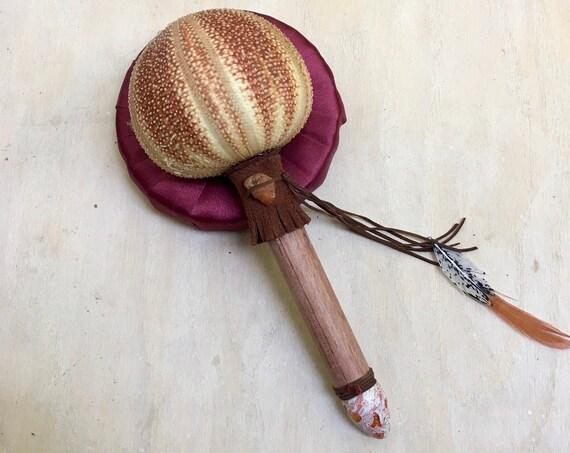 Sea Urchin, Bubinga, Fire Opal, Amber Carnelian Shamanic Healing Rattle, Shaker, Heart Crown Chakras, Native American, OOAK