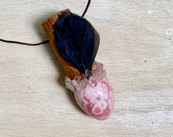 Bolivian Rose Wood, Rhodochrosite, Rose Quartz Shamanic Traveling Wand, OOAK, Healing Pendant, Native American, OOAK, Fetish, Self-Love
