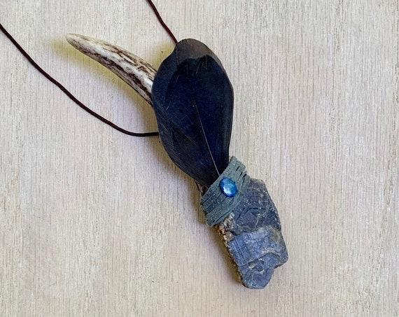 Antler, Sapphire, Bolder Opal, Crow Shamanic Traveling Wand, OOAK, Healing Pendant, Native American, OOAK, Intuition, Protection