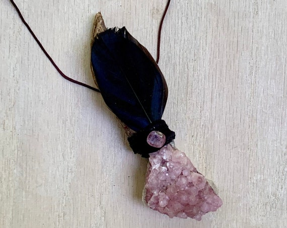 Ayahuasca, Cobalt Calcite, Pink Tourmaline Shamanic Traveling Wand, OOAK, Healing Pendant, Native American, OOAK, Fetish, Self-Love