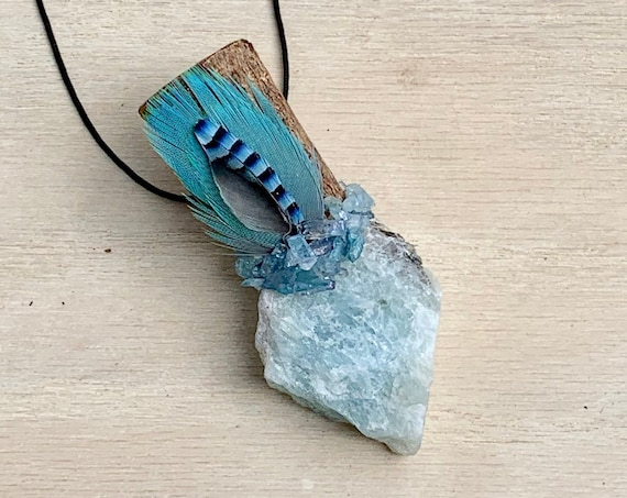 Ayahuasca, Aquamarine, Aqua Aura Quartz Shamanic Traveling Wand, OOAK, Healing Pendant, Native American, Throat & 3rd Eye, Intution