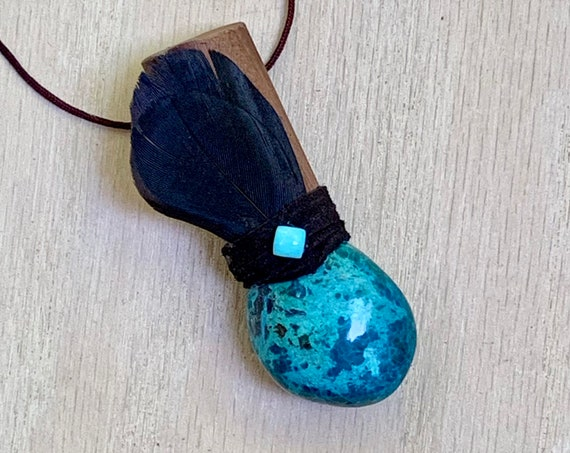 Cocolobo, Chrysocolla, Turquoise & Crow Shamanic Traveling Wand, OOAK, Healing Pendant, Native American, OOAK, Fetish, Psychic Development