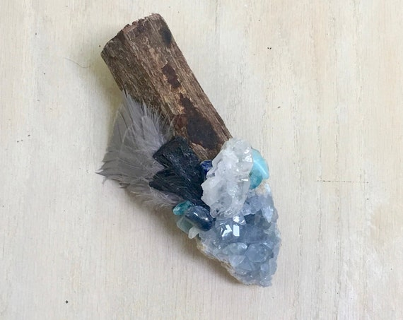 Ayahuasca, Celestite, Faden Quartz, Black Kyanite, Sapphire, Angelite,Andean Blue Opal, Apatite, Lapis Lazuli Shamanic Healing Magic Wand