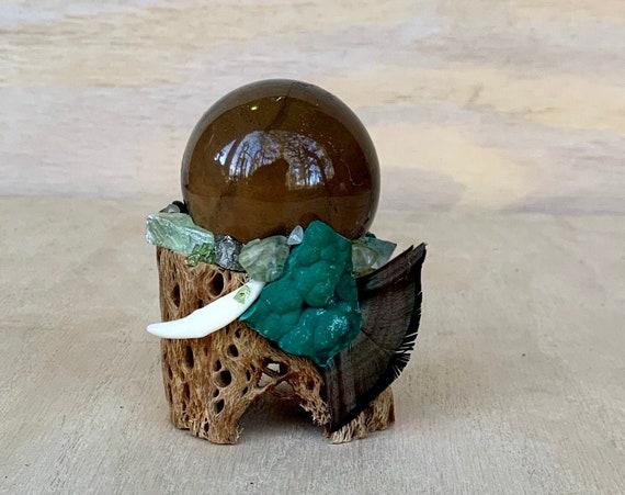 Cholla Cactus, Smoky Quartz Sphere, Prehnite, Malachite, Grossular Garnet, Green Calcite, Moss Agate Shamanic Healing Wand, Orb of Light