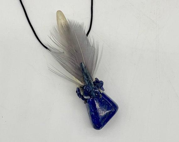 Antler, Lapis Lazuli, Sodalite, Hematite, Blue Kyanite, Turkey Shamanic Traveling Magic Wand, Healing Pendant, Talisman, Self Realization