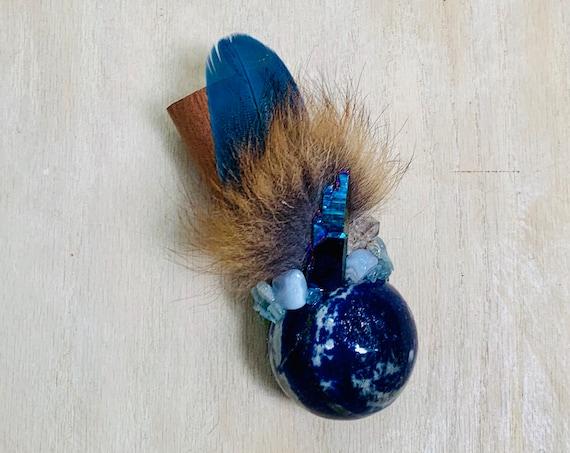 African Mahogany, Lapis Lazuli, Flame Aura Quartz, Blue Topaz, Apophyllite, Chalcedony, Fox Shamanic Healing Wand Magic, OOAK