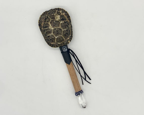 Turtle Rattle, Leopardskin Wood, Quartz, Pietersite, Sodalite Healing Shaman Rattle, Shaker, Native, OOAK, Ceremonial Medicine