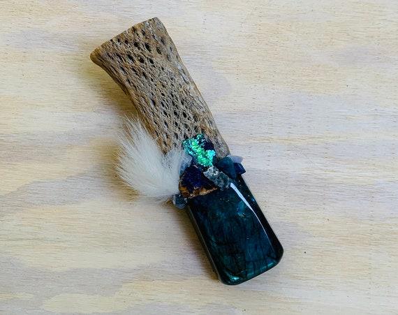 Cholla Cactus, Labradorite, Azurite, Blue Fluorite, Blue Lace Agate, Chalcedony, Apatite, Flame Aura Shamanic Healing Wand Magic, OOAK