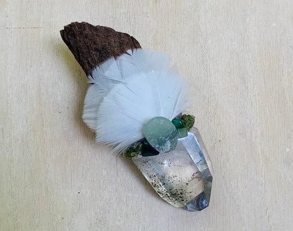 Ayahuasca, Garden Quartz Lodolite, Green Tourmaline, Aventurine, Chrysoprase, Malachite, Peridot Shamanic Healing Wand Magic, OOAK, Heart