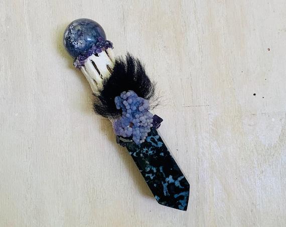 Cholla Cactus, Merlinite, Lepidolite, Amethyst, Shungite, Fluorite, Grape Agate, Sheep Shamanic Healing Wand Magic, OOAK Healing Tool