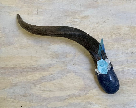 Antelope, Dumortierite, Larimar, Blue Lace Agate, Danburite, Pietersite, Kyanite Labradorite Shamanic Healing Wand Magic, OOAK