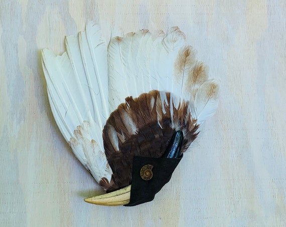 Turkey Smudge Fan, Saber Tooth Tiger, Baldwin Lace, Ammonite Fossil Shamanic Clearing Fan, Native Ceremonial, OOAK, Protection, Medicine