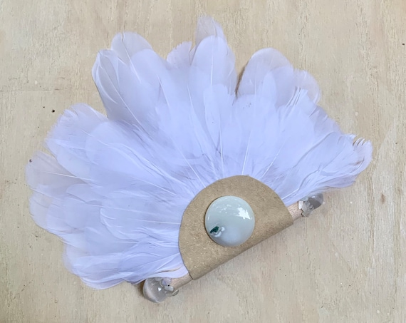 Goose Smudge Fan, Selenite, Rainbow Moonstone, Quartz Clearing Feathers Smudge, Ceremonial, OOAK, Wall Hanging