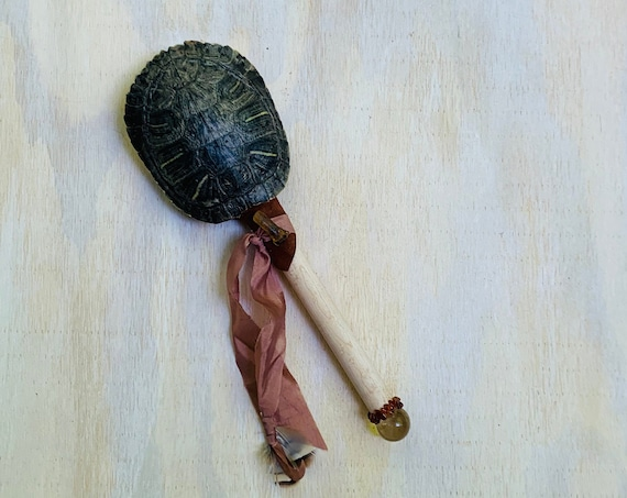 Turtle Rattle, Buckeye Maple, Citrine, Garnet, Amber Healing Shaman Rattle, Shaker, Native, OOAK, Ceremonial Medicine