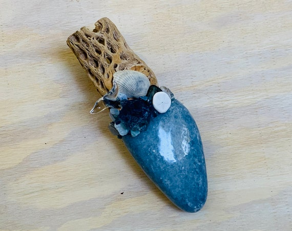 Cholla Cactus, Blue Calcite, Blue Fluorite, Larimar, Blue Lace Agate, Chalcedony, Dumortierite Labradorite Shamanic Healing Wand Magic, OOAK