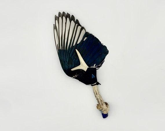 Magpie Feathers, Deer Antler, Lapis Lazuli, Aquamarine, Apatite, Shamanic Healing Smudge Fan, Medicine Tool, OOAK