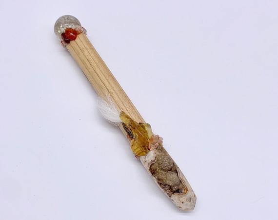 Canary Wood, Botswana Agate Druzy, Citrine, Tiger Eye, Red Calcite, Carnelian, Sunstone Shamanic Healing Wand Magic, Medicine Tool