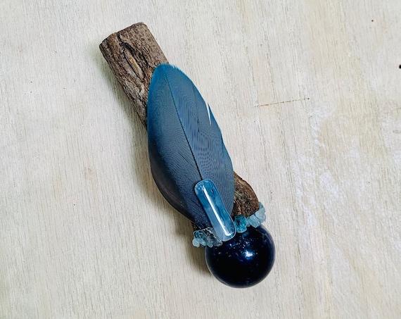 Ayahuasca, Sodalite, Apatite, Iolite, Blue Chalcedony, Aquamarine Shamanic Healing Wand Magic, OOAK, Healing Tool, Throat Chakra, Psychic
