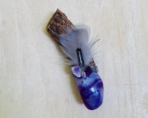 Ayahuasca, Purple Agate, Amethyst, Fluorite Octahedron, Smoky Quart, Rubu. Moonstone Shamanic Healing Wand Magic, OOAK, Healing Tool