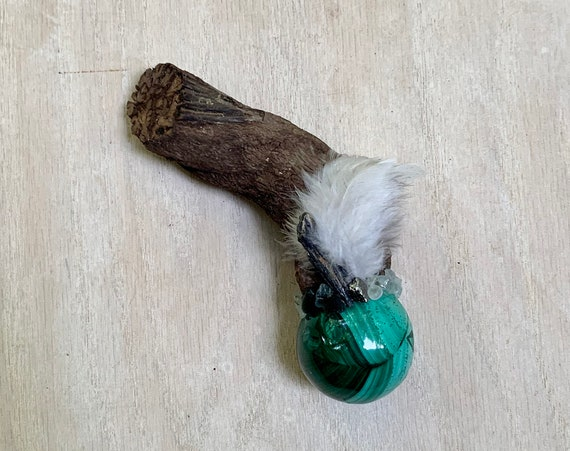Ayahuasca, Malachite, Moldavite, Kyanite, Prehnite, Green Apatite, Nephrite Jade, Shamanic Healing Wand Magic, OOAK Ceremonial