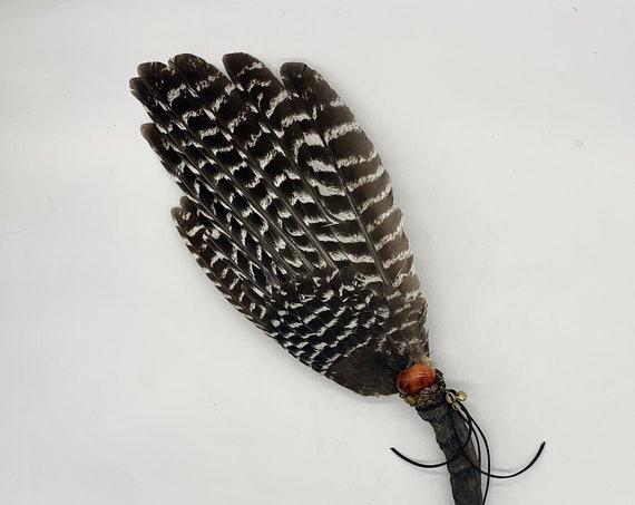 Turkey Smudge Fan, Ram, Carnelian, Red Calcite, Copper Bell, Shamanic Clearing Fan, Native Ceremonial, Medicine, Sacred Wing Medicine Fan