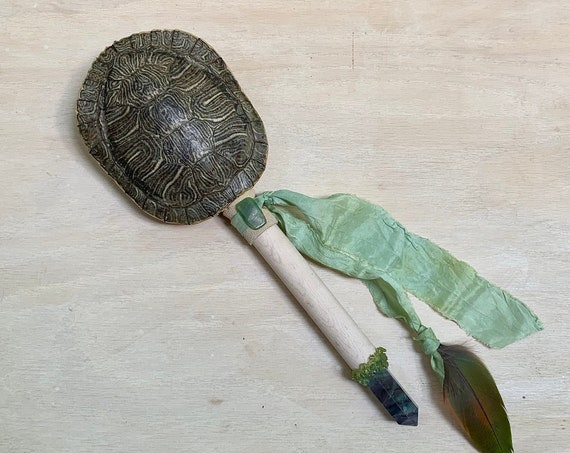 Turtle Rattle, Buckeye Maple, Fluorite, Peridot, Siberian Jade Healing, Shaman Rattle, Shaker, Ceremonial, Sound Healing, Native OOAK