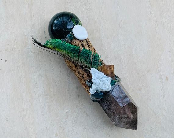 Cholla Cactus, Garden Smoky Quartz, Jade Sphere, Green Apophyllite, Amber, Ocean Jasper Shamanic Healing Wand Magic, OOAK, Root Sacral