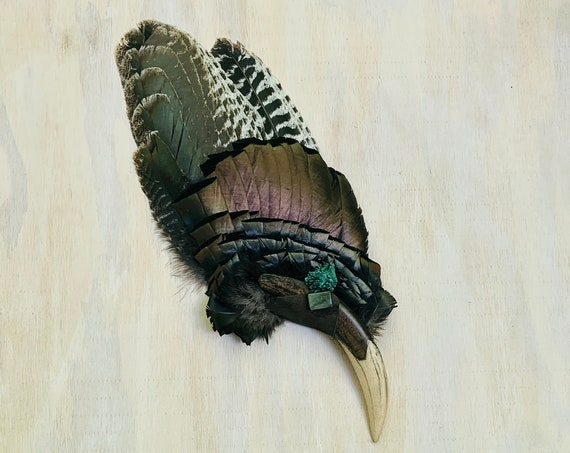 Turkey Smudge Fan, Saber Tooth Tiger, Jade, Malachite Shamanic Clearing Fan, Native Ceremonial, OOAK, Protection, Medicine