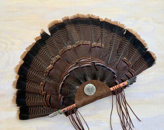 Turkey, Copper, Quartz, Black Kyanite, Ruby, Sapphire, Jade, Pyrite Disc Clearing Smudge Fan, Native American, Ceremonial, OOAK Heart Chakra